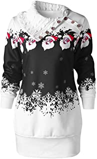 Ugly Christmas Tunic Respctful✿ Women Cowl Neck Tunics Long Sleeve Snowflakes Patchwork Fitting Casual A-Line Top Blouse