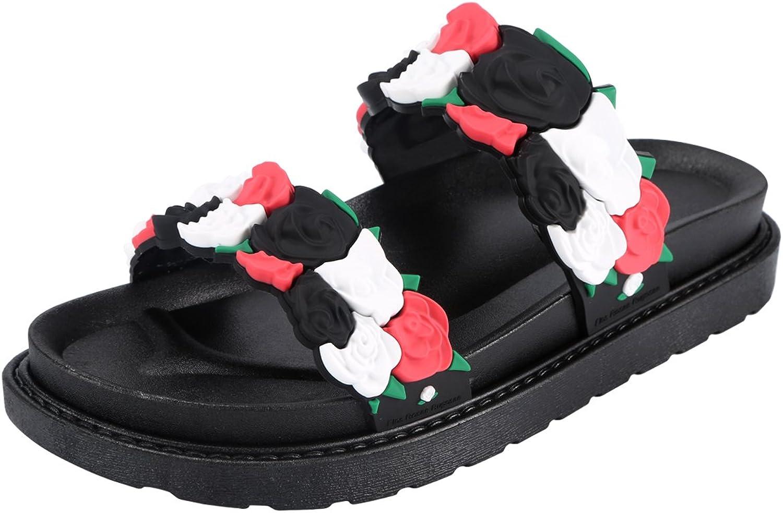KUNSHOP Women's Flat Slide Sandals Platform Wedge Slippers pink Floral shoes