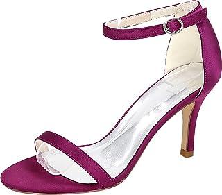 Vimedea Womens Ankle Strap Dress Sexy Heeled Sandals Wedding Bride Open Toe Satin 9920-14