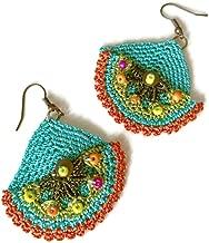 Sea Green Beaded Crochet Earrings