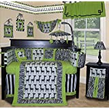SISI Baby Boy Boutique - Lime Zebra 14 Pcs Baby Bedding Nursery Crib Set Including Lamp Shade by Sisi