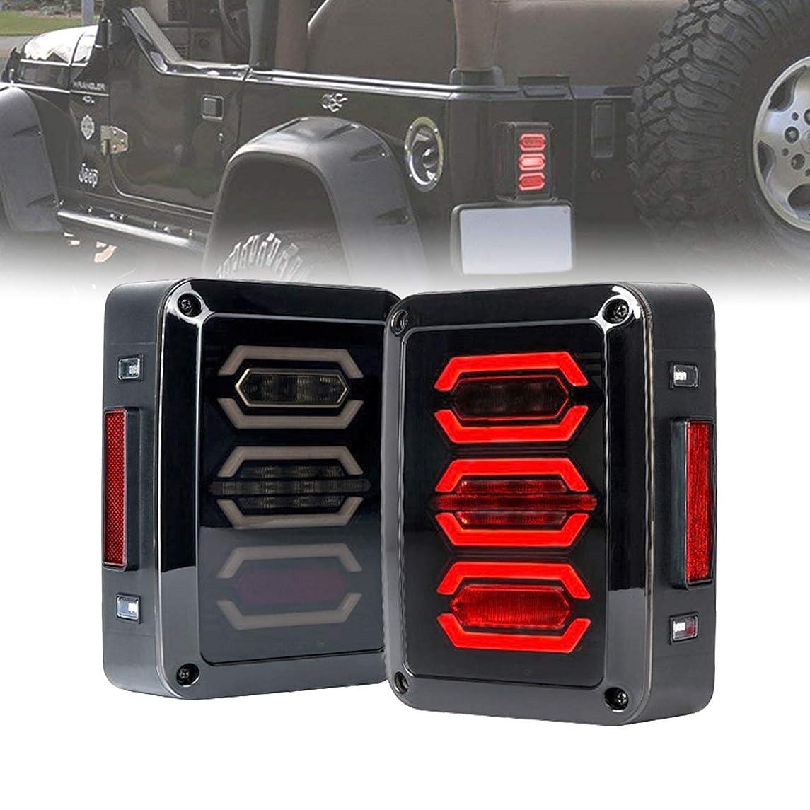 ICARS 2007-2018 Jeep Wrangler JK JKU Tail Lights Brake Lights LED Smoke Lens with Turn Signal Lights, Avenger Style - Pair