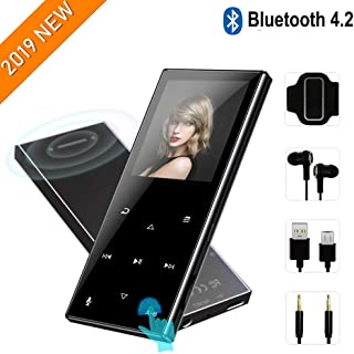 MP3 Player with Bluetooth 4.2—2019 New Updated Model,8GB HiFi Lossless Mp3 Player with Touch Buttons,62 Hours Playback,Support Up to 128GB,Built-in Speaker, FM Radio,Pedometer,Recording,Black