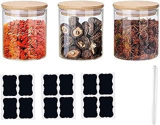 Annfly Lot de 3 bocaux en verre avec couvercles en bambou hermétiques pour aliments et céréales (comprend 3 autocollants e...