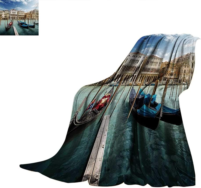 Italian Weave Pattern Blanket Gondolas in The Venetian Adriatic Lagoon Historical Venezia Photo Summer Quilt Comforter 60 x50  bluee Sand Brown Almond Green