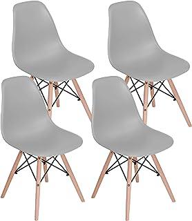 MUEBLES HOME - Juego de 4 sillas de comedor modernas de mediados de siglo, sillas de plástico con patas de madera para comedor, dormitorio, sala de estar, sillas montadas lateralmente, gris