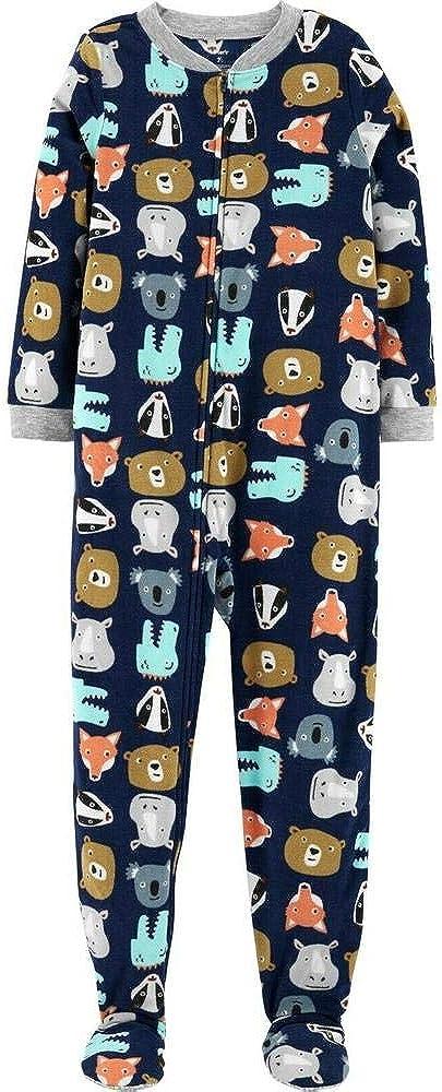 Carter's Boys 1-Piece Zippered Gripper Footie Fleece Pajamas Animals Size 4