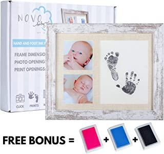 Baby Footprint & Handprint Photo Frame Kit | Includes 3 Ink Pads | Pink + Blue + Black | Perfect Baby Shower Gift for Boy & Girl | Newborn Keepsake Frame | Foot & Hand Impression