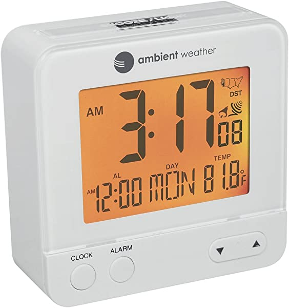 Ambient Weather RC 8300 WHITE Atomic Travel Compact Alarm Clock With Auto Night Light Feature White