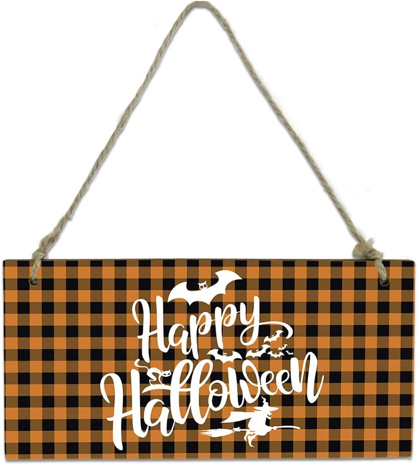 Wood Plaque Wall Hanging Sign for Hallowe Bathroom Kitchen OFFicial shop Happy Max 73% OFF