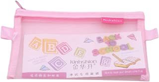 HENGSONG Large Simple Solid Color Transparent Mesh Cse Office Student Pencil Cases Nylon Kalem Kutusu Pen Box (Pink)