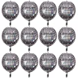 12PCS 22 Inch Disco Laser Ball Balloon 4D Large Silver Inflatable Sphere Hangable Self-Sealing Aluminum Foil Metallic Mirror Balloon for Dance Party Birthday Wedding Baby Shower Decorations