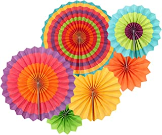 Uever Fiesta Party Decorations Set, 6 Colorful Round Pattern Paper Fans for Mexican, Fiesta, Event, Cinco de Mayo Party Decorations, Kids Birthday and Home Decor