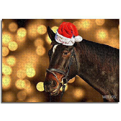 CELLYONE MEEKIS Adult Puzzlespiel 1000 Stück Pferd mit Weihnachtsmütze Lernspiele, Puzzle für Kinder