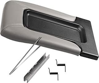 Center Console Lid Replacement Kit Gray - Replaces 924-811, 19127364, 19127365, 19127366, 924-812 - Fits Chevy Silverado, Avalanche, Tahoe, Suburban, GMC Sierra, Yukon - Interior Armrest Hinge Latch