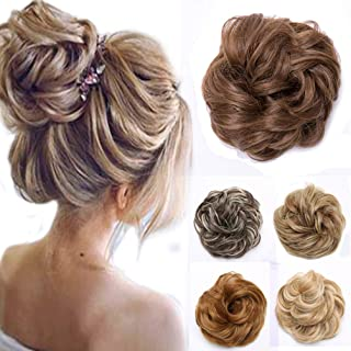 Messy Hair Bun Chignons Synthetic Hair Extensions Wavy Updo Scrunchy Hairpieces
