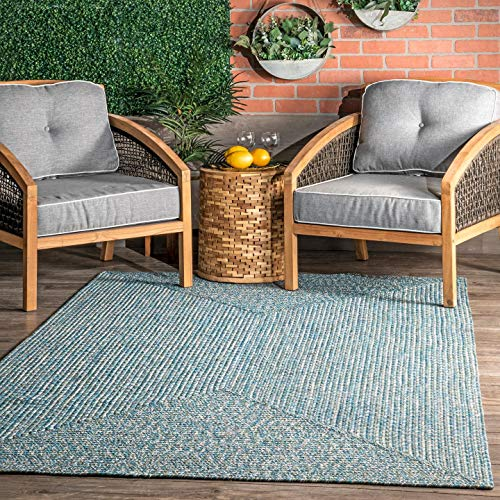 nuLOOM Lefebvre Braided Indoor/Outdoor Accent Rug, 2' x 3', Aqua