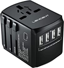 LENCENT Universal Travel Adaptor with UK/USA/EU/AUS Worldwide Travel Charger Plug, 4 USB Ports and 1 Type C International ...