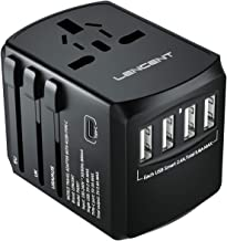 LENCENT Universal Travel Adaptor with UK/USA/EU/AUS Worldwide Travel Charger Plug, 4 USB Ports and 1 Type C International Wall Adapter & Universal AC Socket for Travelling Over 200 Countries