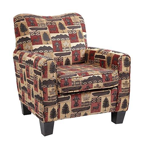 American Furniture Classics Lantern Lodge Hunting Cabin Club Chair, Medium, Warm Red and Earthtones