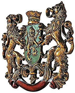 Dеsign Tоscаnо Home Decor Heraldic Royal Lions Coat of Arms Medieval Decor Wall Sculpture, 30 Inch, Full Color