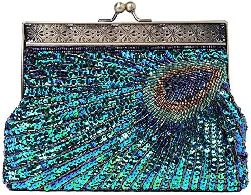 BABEYOND 1920s Flapper Peacock Clutch Gatsby Sequined Handbag Roaring 20s Evening Clutch Beaded product image