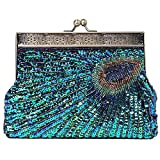 BABEYOND 1920s Flapper Peacock Clutch Gatsby Sequined Handbag Roaring 20s Evening Clutch Beaded Bag 1920s Gatsby Costume Accessories (Style 2)