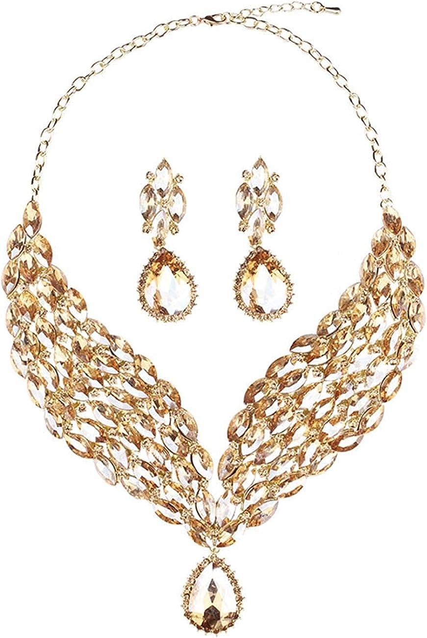 JOEupin Bridal Teardrop Cluster Sales Crystal for Jewelry New item Women Set Ne