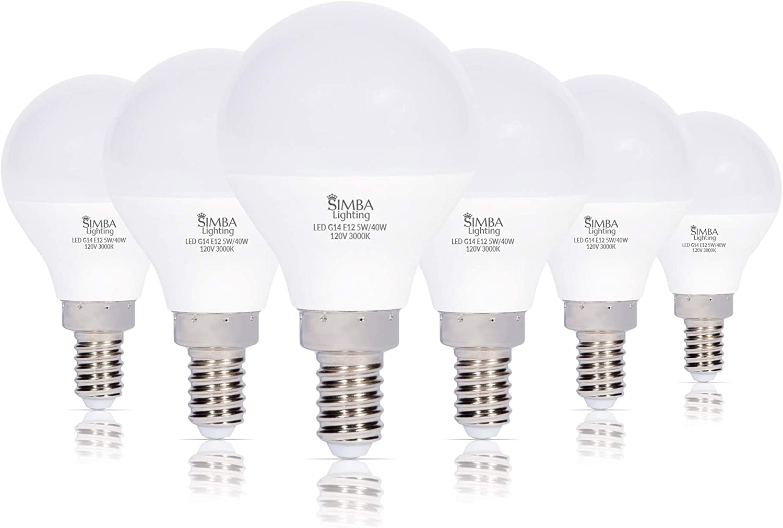 Simba Lighting LED Candelabra 100% quality warranty E12 Base G14 Small Re 40W free shipping 5W Globe