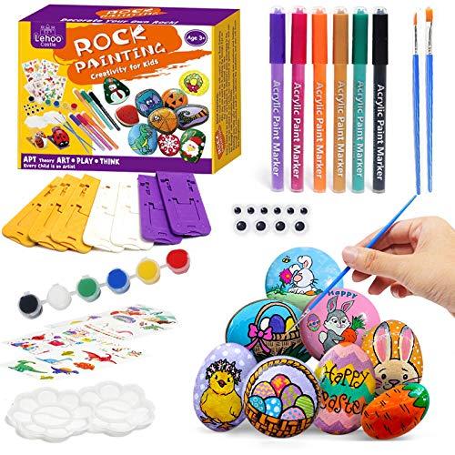 Lehoo Castle Kit per pittura su roccia per bambini, set di pietre per pittura, artigianato pasquale fai-da-te per bambini, pittura su ghiaia Forniture artistiche per artigianato Giocattoli per ragazzi