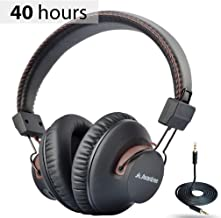 Avantree AS9S 40 hr Wireless Wired Bluetooth Over Ear Headphones with Mic for Computer TV Watching, Foldable, Extra Comfortable & Lightweight, HiFi Stereo Headset for PC Laptop Cell Phone - Brown