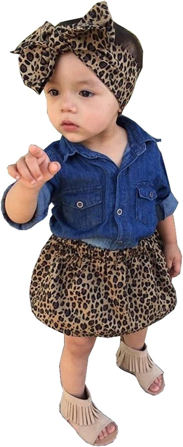 3pc Baby Girl Blue Jean Shirt + Leopard Print Short Skirt + Headband Outfits Set Clothes
