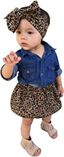 Aliven 3pc Baby Girl Blue Jean Shirt + Leopard Print Short Skirt + Headband Outfits Set Clothes