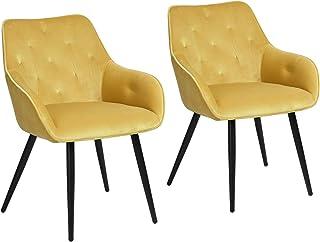 MEUBLE COSY Lot de 2 Chaise Salle à Manger Scandinaves en Velours Jaune Fauteuil Salon Design avec Accoudoirs, 56x59x75cm