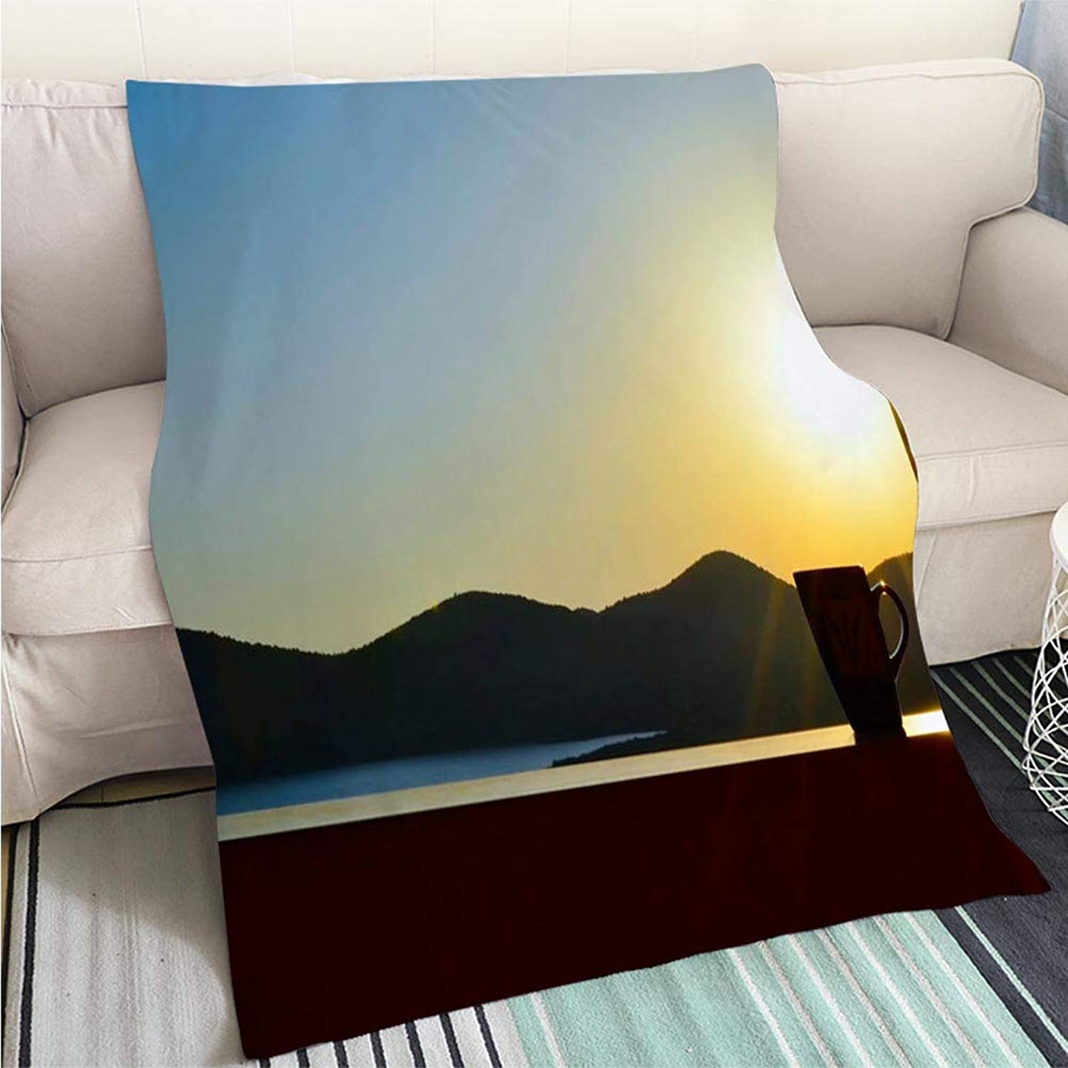 BEICICI Comforter Multicolor Bed or Couch Early Morning Coffee Art Blanket as Bedspread gold White Bed or Couch