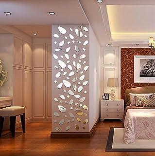 ??Pegatinas de pared??Dragon868 12pcs/sets extraíble bricolaje 3D espejo vinilo pegatinas de pared (Plata)