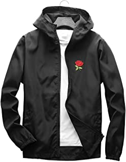 385381624c0 Rose Floral Jacket Lightweight Windbreaker for Men Women Full Zip Windproof  College Jackets with Hood