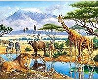 刻印されたクロスステッチキット初心者大人-アニマルワールド-11CTDIYクロスステッチ-刺繡針仕事針先-家の装飾のためのギフトコットンスレッド-16x20インチの印刷済みキャンバス