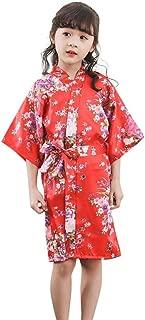 terbklf Toddler Baby Kids Girls Solid Soft Silk Satin Kimono Robes Bathrobe Sleepwear Elegant Slim Clothes Nightdress