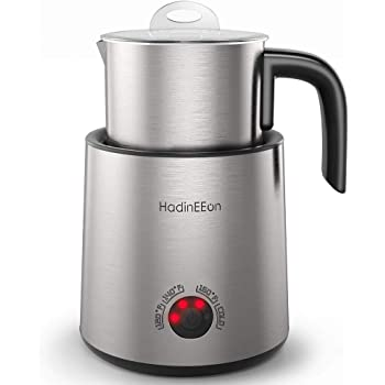 HadinEEon Variable Temperature Milk Frother, 13.5oz Electric Milk Frother, Dishwasher Safe Stainless Steel Milk & Chocolate Steamer Automatic Hot/Cold with Detachable Milk Jug for Coffee, Latte
