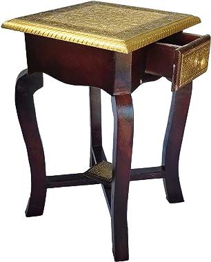 Mansi Enterprises Bedside Table Antique Look Natural Wood with Drawer Storage for Living Room/Bedside Table