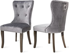 Harper&Bright Designs Victorian Dining Chair Upholstered Accent Chair (Velvet Grey)