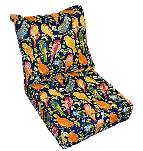 Blue, Red, Yellow, Pink, Green, Orange Ash Hill Garden Birds Cushion for Patio Outdoor Deep Seating Furniture Chair - Choice of Size (SEAT CUSHION - 23'W X 24'D / BACK CUSHION - 23'W X 21'D)
