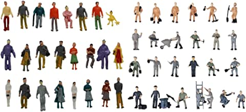 Moligh doll 24 Pcs Colorful Painted Sand Table Model Railway Passenger Figures Scale (1 to 87) & 25pcs 1:87 Figurines Painted Figures Miniatures of Railway Workers with Bucket and Ladder