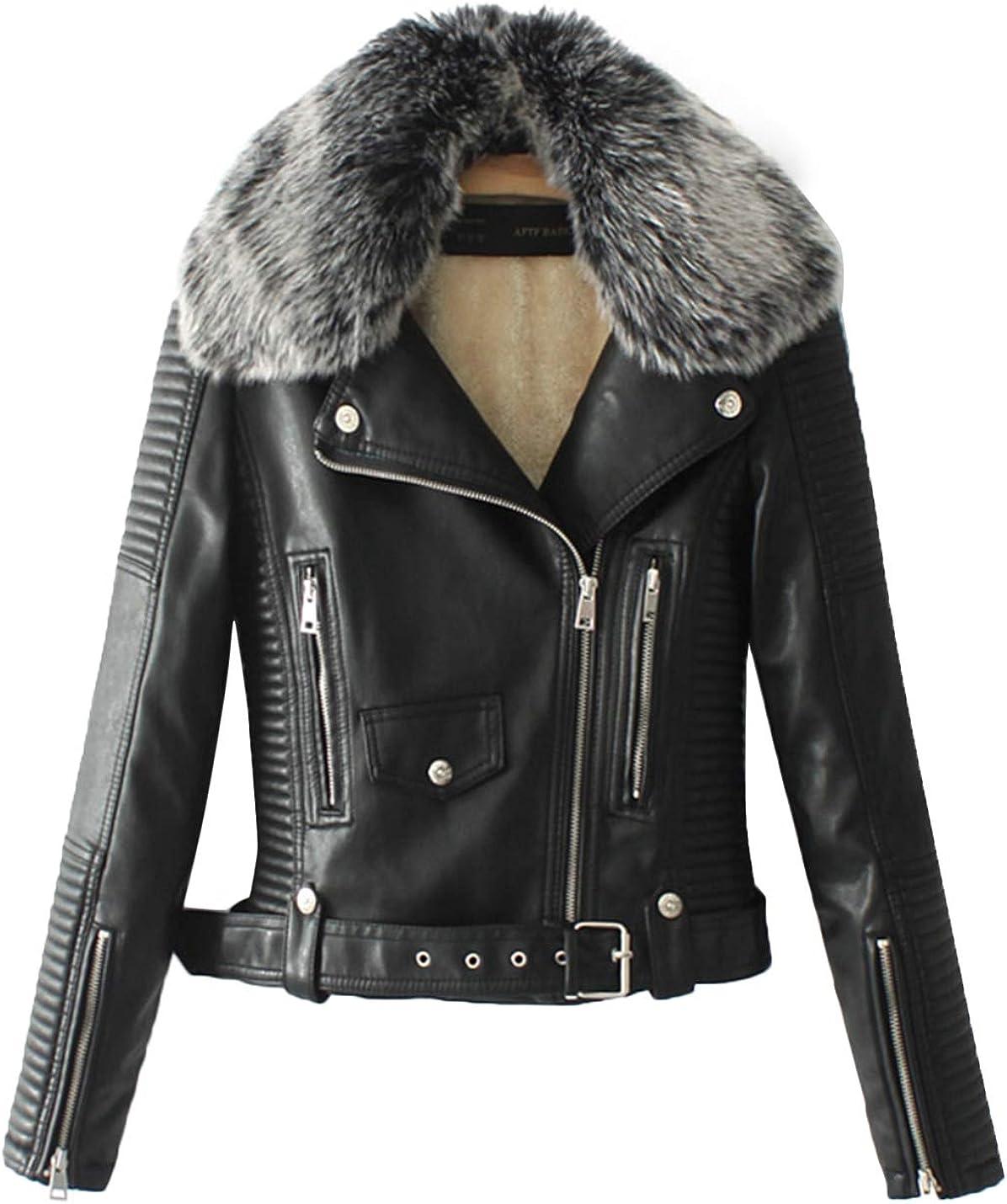 HaoMay Women's Slim fit Fleece Lined Faux Leather PU Biker Short Jackets