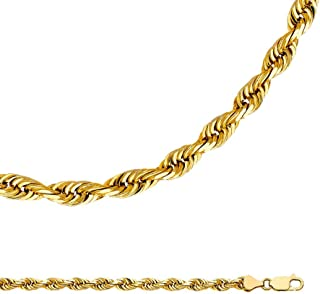 GemApex Rope Chain Solid 14k Yellow Gold Necklace Twisted Mens Diamond Cut Polished Big Heavy, 6 mm - 22,24,26 inch