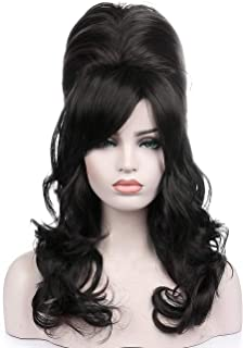 Kalyss Black Beehive Wig Women's Curly Wavy Long Heat Resistant Synthetic Hair Cosplay Costume Wigs (Black)