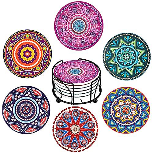 YumSur 6 Pezzi Sottobicchieri per Bevande ,Sottobicchieri in Ceramica con Base in Sughero , Sottobicchieri assorbenti con supporto Protezione per Qualsiasi Tipo di Tavolo (Legno, Marmo Vetro)