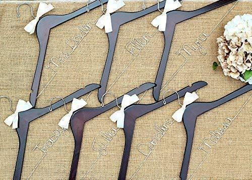 Wooden Personalized Hangers Bridal Party Hanger Bridesmaid Gifts Dress hangers SET OF 10 Custom Wedding Hangers Brides