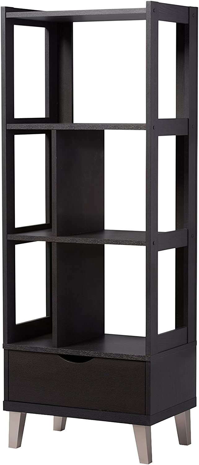 Baxton Studio Kalien Wood Leaning Bookcase with Display Shelves & One Drawer, Dark Brown, 15.21LX23.01WX62.4H